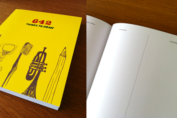 Cover and open pages of 642 Things To Draw, a Chronicle Book
